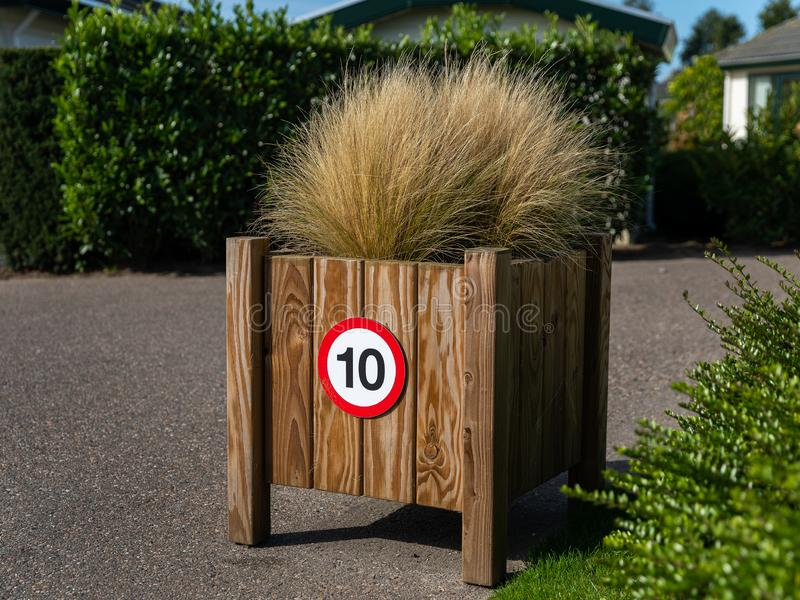 Traffic sign 10 ten for speed limit royalty free stock photo