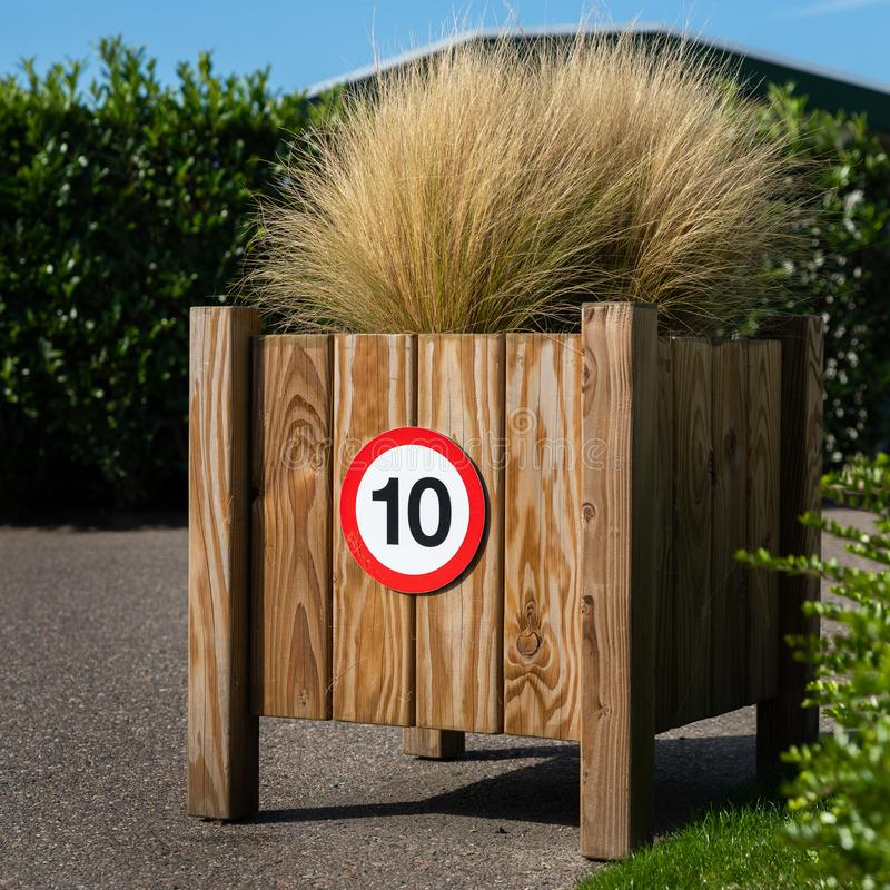 Traffic sign 10 ten for speed limit stock photos