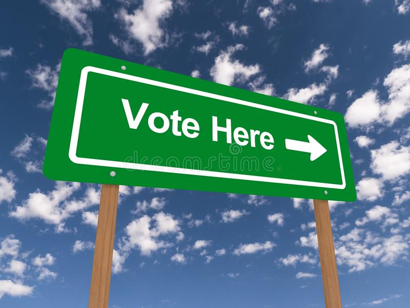 Vote here. A traffic sign with the text 'vote here' against the blue sky royalty free stock images