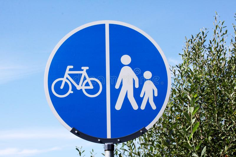 Traffic sign - walkway for pedestrians and cyclists. Copenhagen, September 11, 2017 stock image