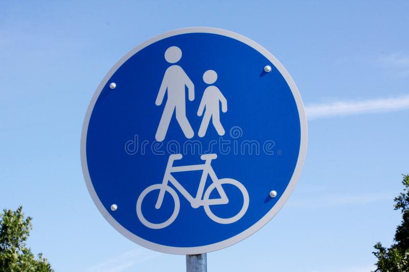 Traffic sign - walkway for pedestrians and cyclists. Copenhagen, September 11, 2017 stock photos