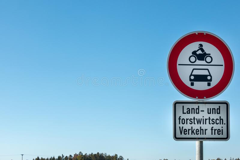 Traffic sign which allows agricultural and forestry vehicles to drive through stock images
