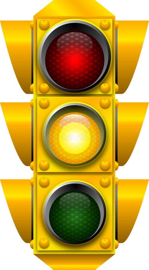 Traffic signal CAUTION stock illustration