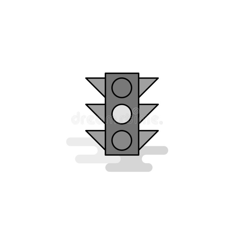 Traffic signal Web Icon. Flat Line Filled Gray Icon Vector royalty free illustration