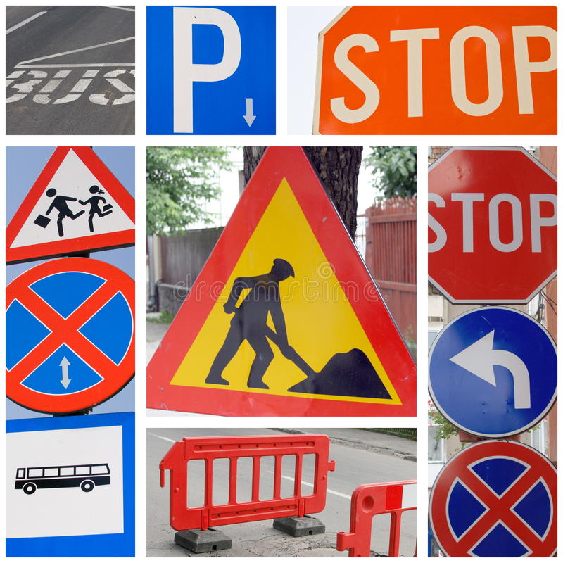 Traffic signs. Series of different traffic signs collage stock image