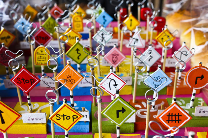 Traffic signs. Gift that symbolizes traffic royalty free stock images