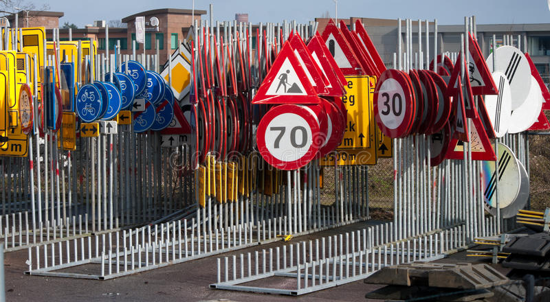 Traffic signs. Lots of traffic signs stored together stock images