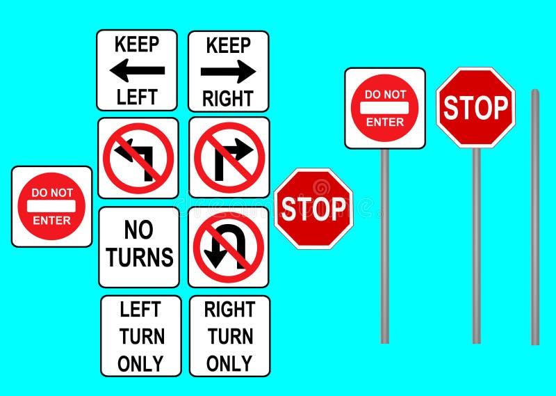 Traffic signs. Illustration of traffic symbols. Turning signs royalty free illustration