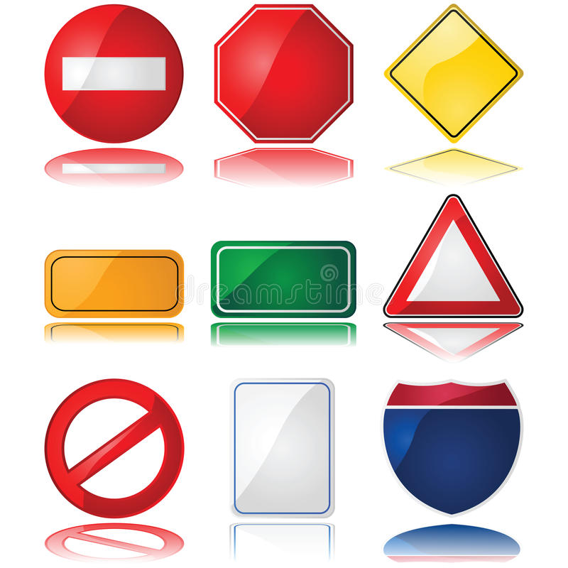 Download Traffic signs stock vector. Image of stop, warning, shape - 19299222