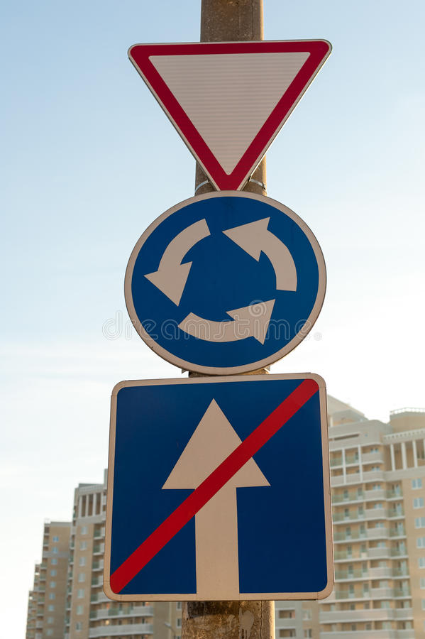 Traffic Signs. Three Traffic Signs, triangle, circle, square royalty free stock photos