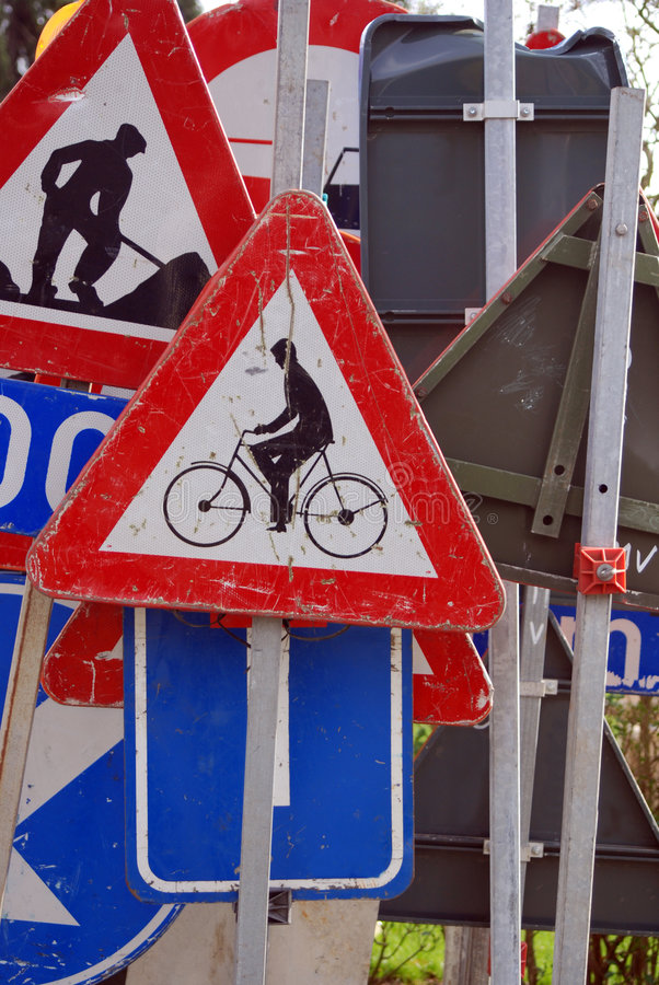 Download Traffic signs stock photo. Image of plenty, bicycle, poles - 4488760