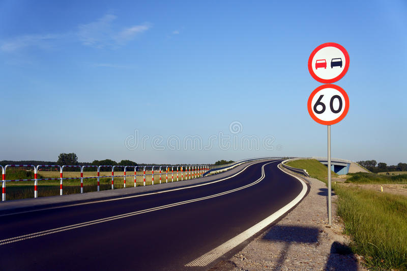 Traffic signs along the road. In Poland stock images
