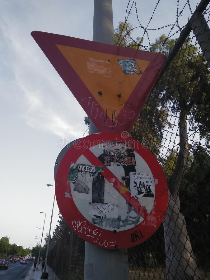 Traffic signs in Athens stock images