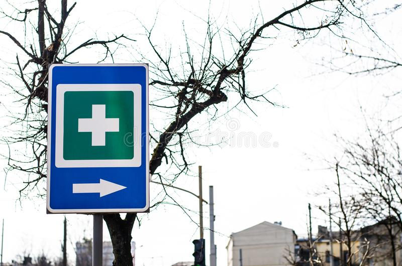 Traffic signs in the background stock photos