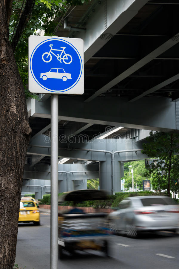Traffic Signs. For bicycle and car way stock photo