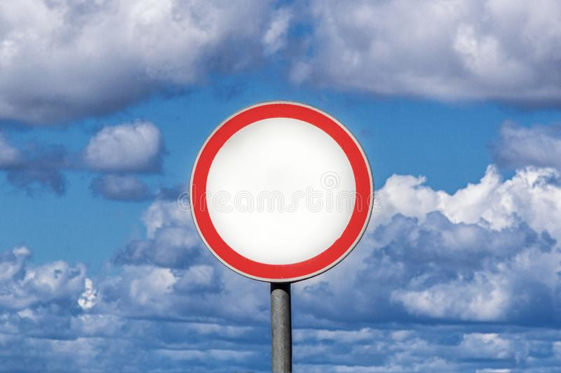 Traffic Signs blank board blue sky with cloud background.  stock image