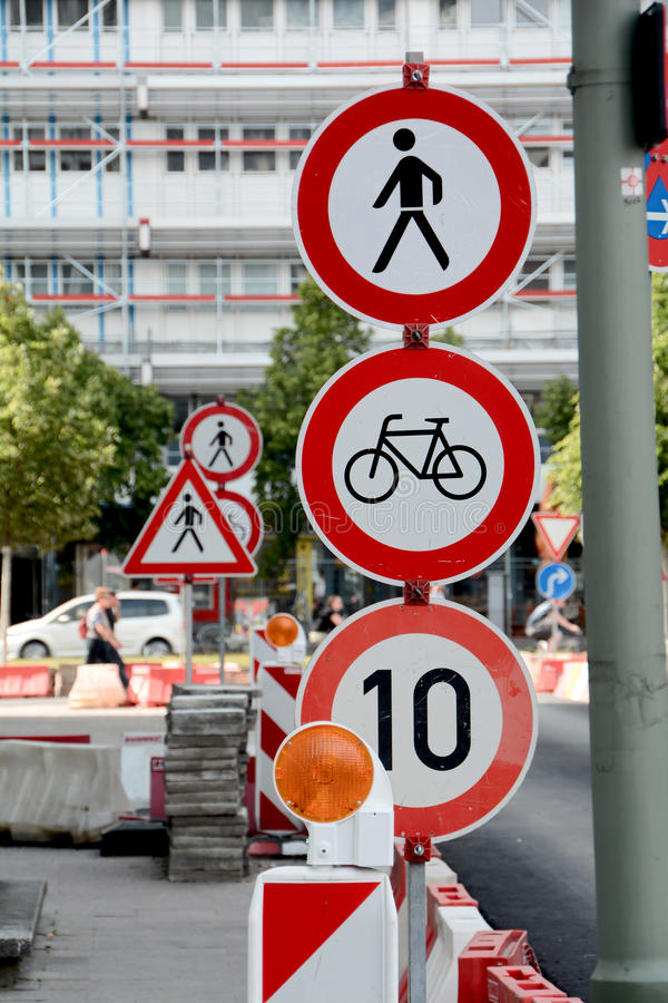Traffic signs on a building site royalty free stock photos