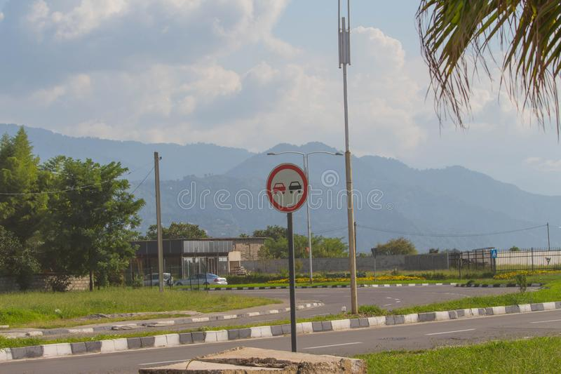 Traffic Signs concept. traffic sign placed beside along the road. Road sign informing stock photo