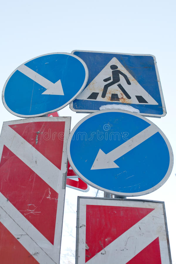 Traffic signs conflict royalty free stock photography