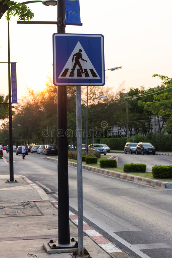 The traffic Signs. Crosswalk in the evening royalty free stock images