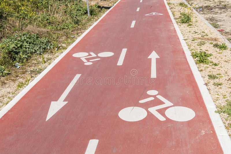 Traffic signs drawn in the Cycleway.  stock images