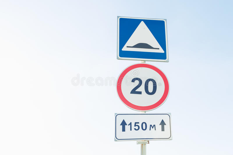 Traffic signs Maximum speed limit , artificial unevenness. And Coverage stock images