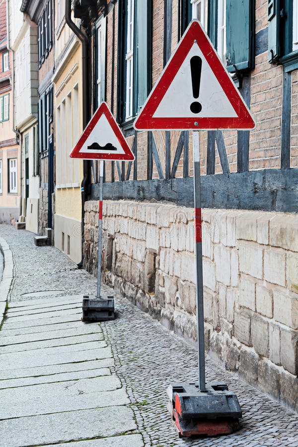 Traffic signs. In the Old Town of Quedlinburg royalty free stock photo