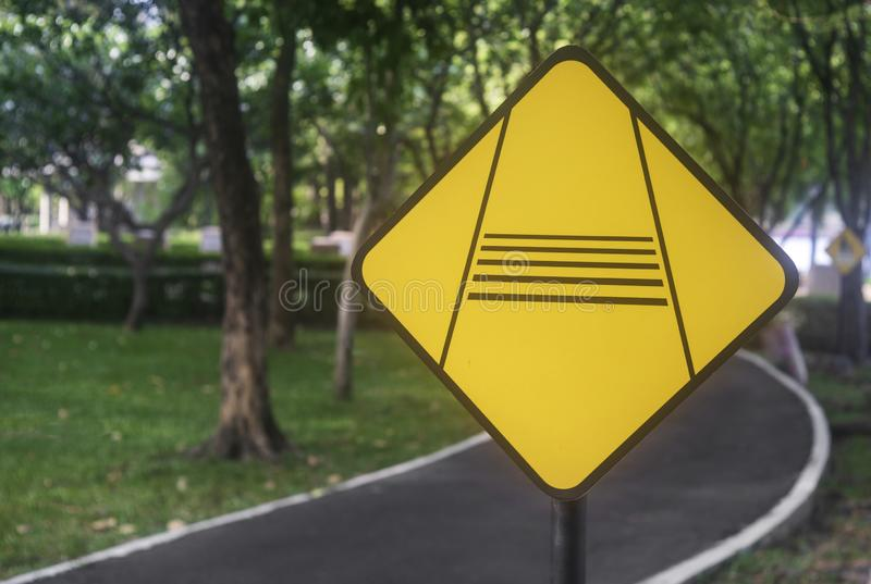 Traffic signs in the park stock image