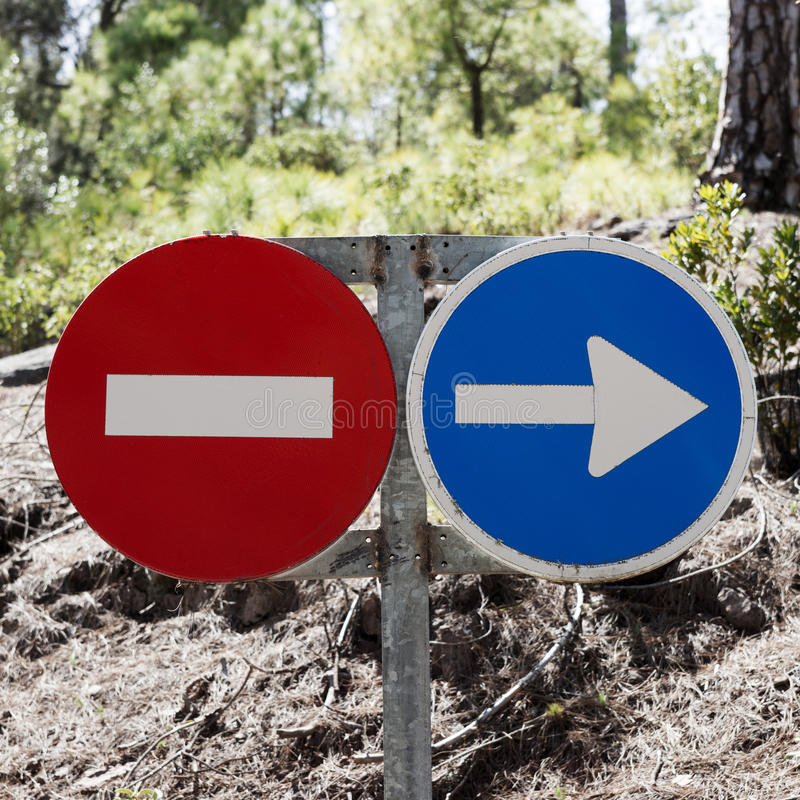 Traffic signs prohibited and driving direction. In the forest royalty free stock photos