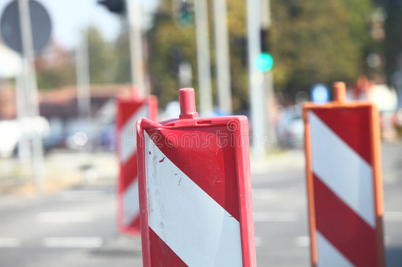 Traffic signs Road Closed warning sign. Roads royalty free stock photos