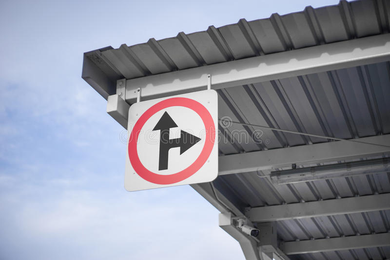 Traffic signs or road signs on the roof with sky background.  stock photo