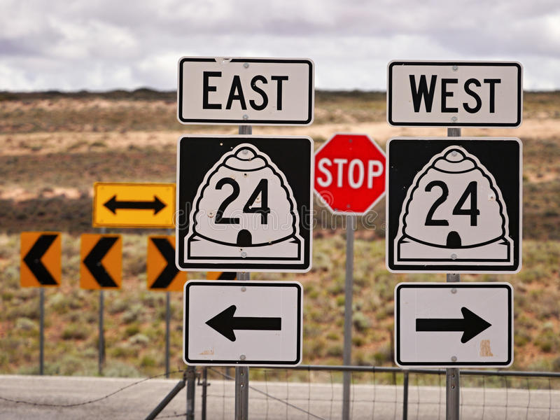 Traffic signs. On Route 24 in Utah. Near Green City, Utah, USA. May 20, 2016 royalty free stock photography