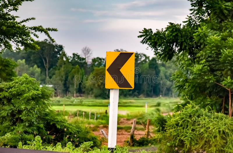 Traffic signs on rural roads. Green, signal royalty free stock image