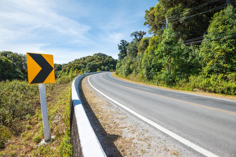 Traffic signs say the curve right direction on mountain highway, warning accident royalty free stock image