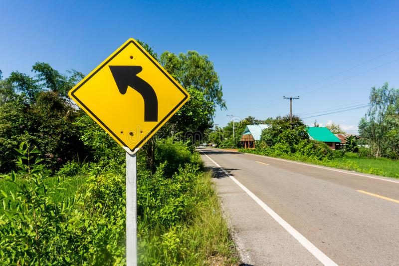 Traffic signs say the curve. stock photography