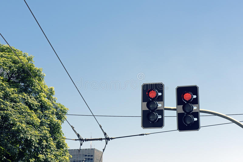Traffic signs. Semaphore on red with blue sky Sao Paulo - SP - Brazil stock photos