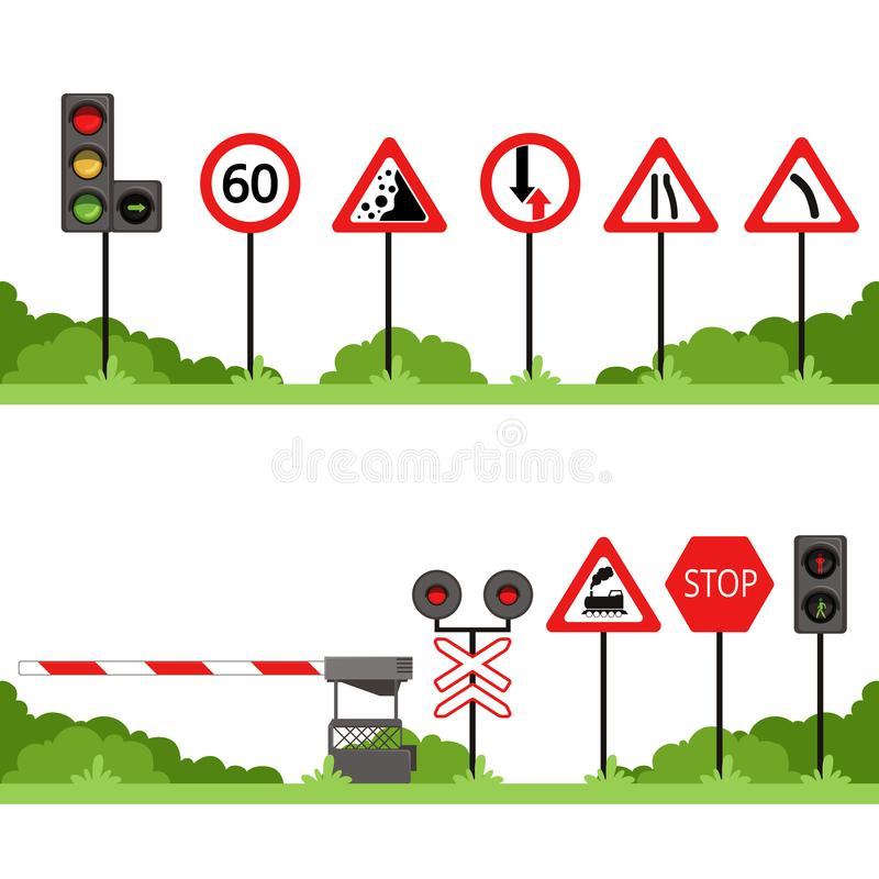 Traffic signs set, various road sign vector illustrations. Isolated on a white background stock illustration