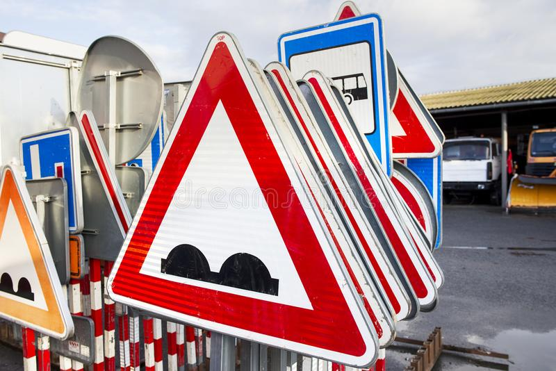Traffic signs in stand, rack on service site. Traffic signs in stand, rack royalty free stock images