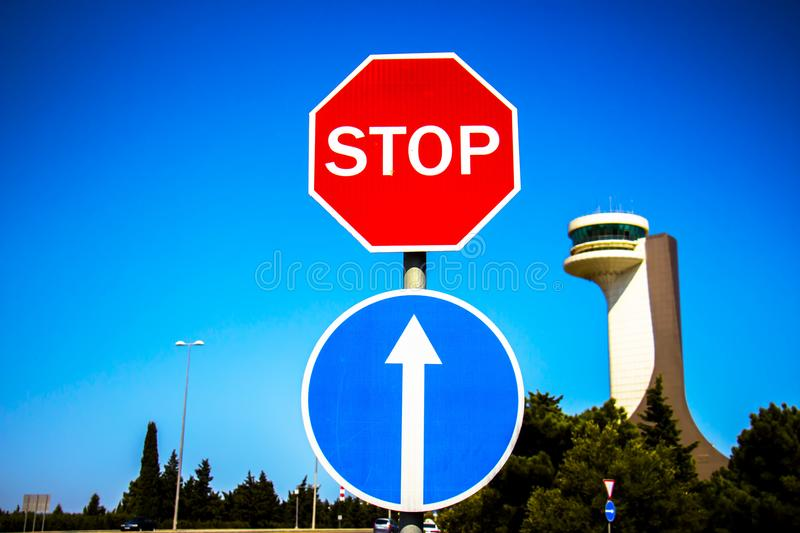 Stop sign on blue sky. Traffic signs stop, stop to make way royalty free stock photo