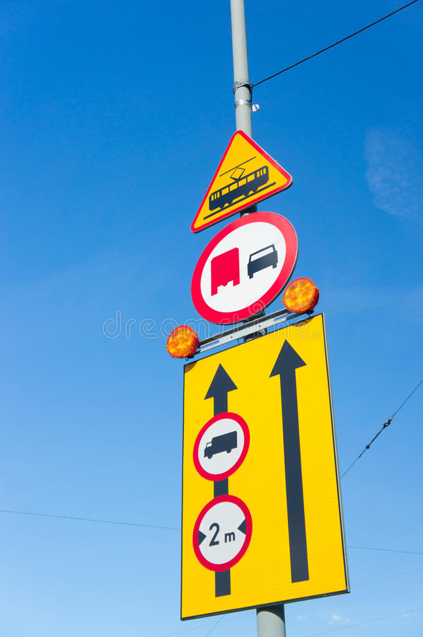 Traffic signs. On a street pole royalty free stock images