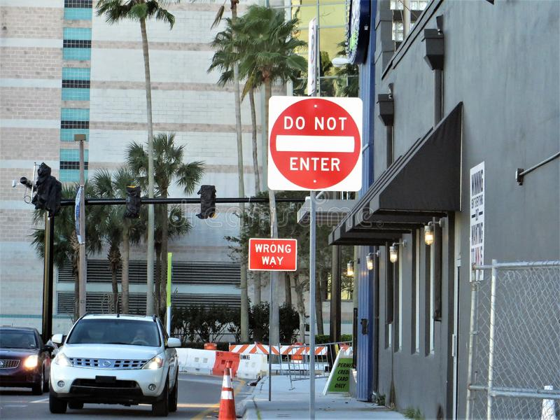 Traffic signs, Tampa. Do Not Enter and Wrong Way signs directing traffic around construction sites near Channelside District downtown Tampa, Florida stock image