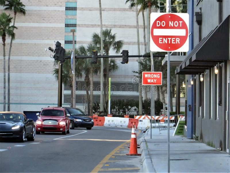 Traffic signs, Tampa. Do Not Enter and Wrong Way signs directing traffic around construction sites near Channelside District downtown Tampa, Florida royalty free stock photos