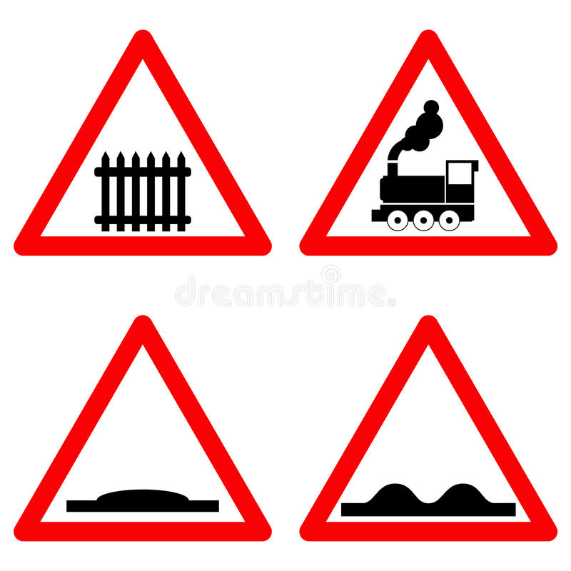 Free Traffic Signs Vector Set On White Background, Railway Level Crossing Ahead, Speed Hump, Rough Road Symbols In Red Stock Photos - 82568263