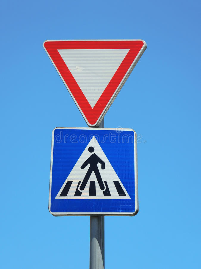 Traffic signs warning pedestrian cross. Traffic signs warning triangle pedestrian cross royalty free stock images