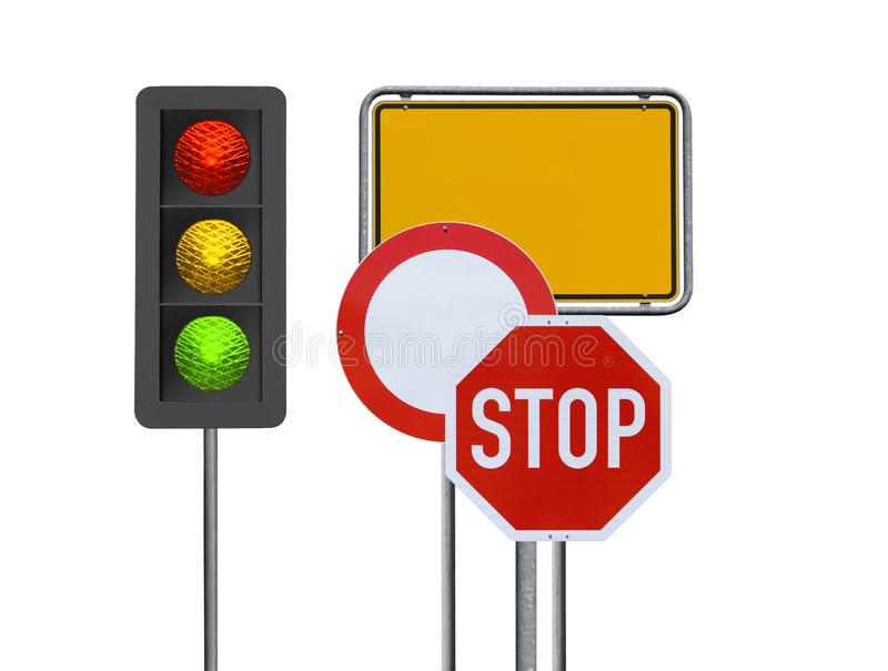 Traffic signs on White Background stock photo