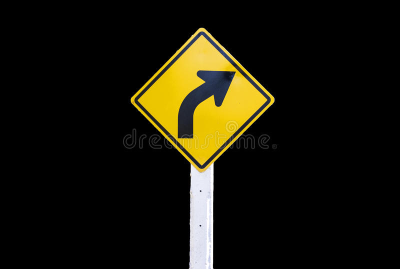 Traffic Signs yellow board on black background isolated.  royalty free stock photos