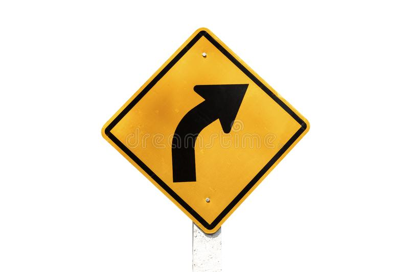 Traffic Signs yellow board on white background isolated royalty free stock photos