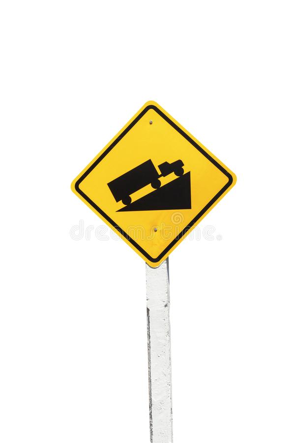 Traffic Signs yellow board on white background isolated.  royalty free stock photography