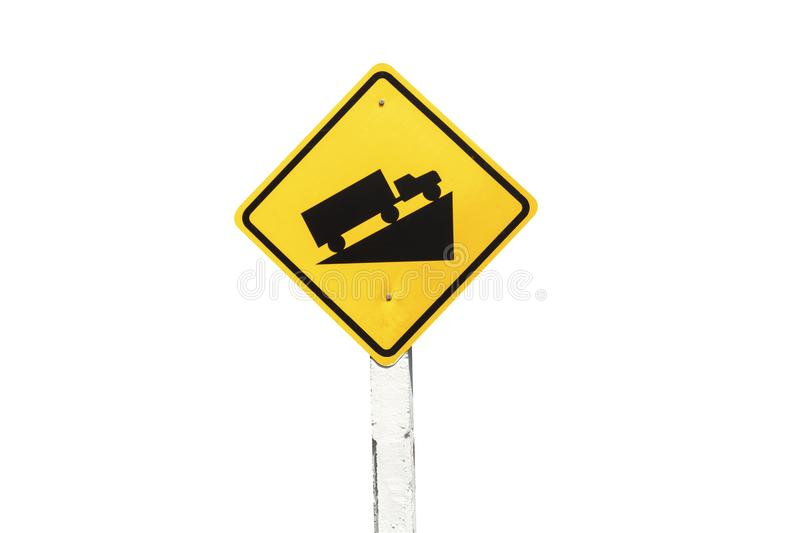 Traffic Signs yellow board on white background isolated royalty free stock photography