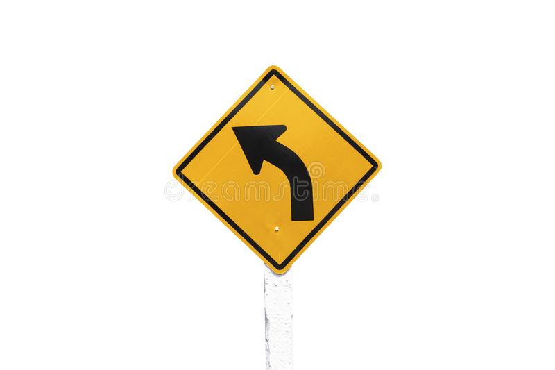 Traffic Signs yellow board on white background isolated stock photo